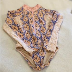Girl's Cabana Life long sleeve swimsuit, size 7/8